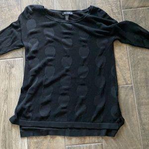 White House Black Market Black Mesh Circle Sweater Top